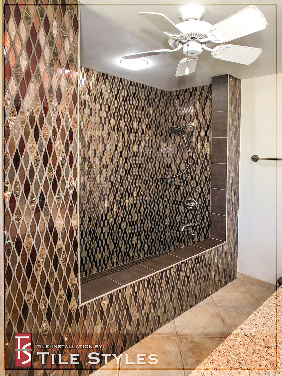Glass Mosaic Roman Tub Amp Shower Stall Tile Styles